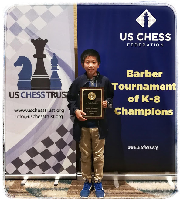 Jason Wang is the Barber Co-champion — Welcome to the CCL Chess School!